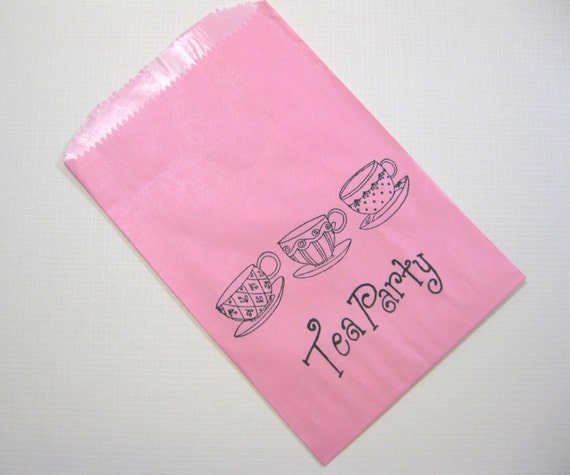 Birthday Bridal Shower Alice in Wonderland Candy Buffet Bags 10 Pink Black Tea Party Paper Favor Bags lined in wax