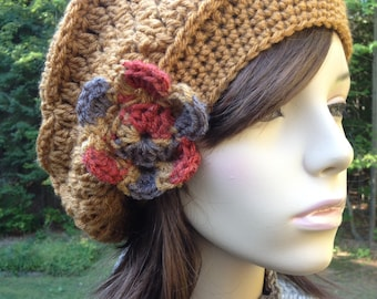 Slouchy Beret  with Fall Print Flower and Vintage Button