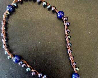 Beaded Crochet Anklet Choker or Wrap Bracelet