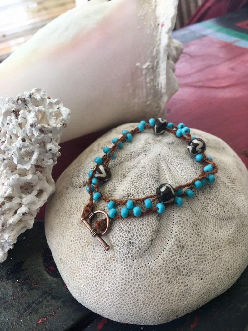 Beaded Crochet Choker or Wrap Bracelet. image 0