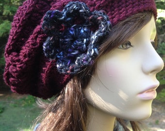 Slouchy Beret Burgundy with Print Flower and Vintage Button