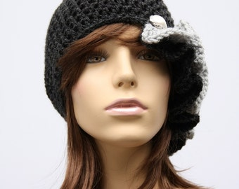 Cloche Black and Grey Ruffle Hat, Christmas, Gift, Holidays, Winter, Warm, Cap, Birthday