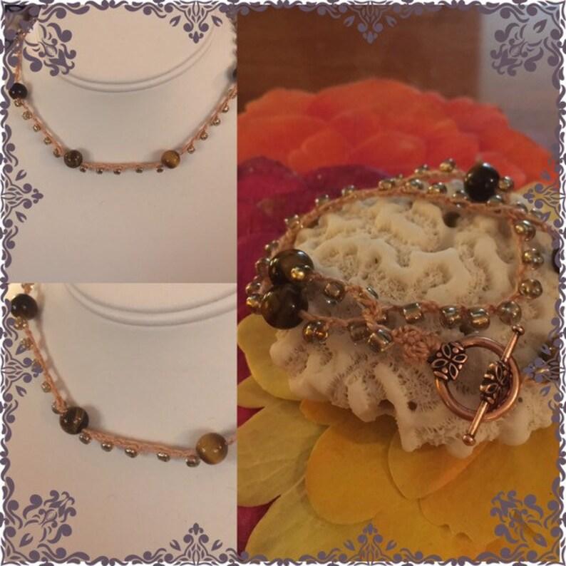 BeadedCrochet Choker or Wrap Bracelet. Tiger Eye and gold image 0