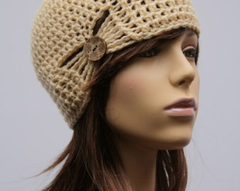 Cream gathered Cloche Hat