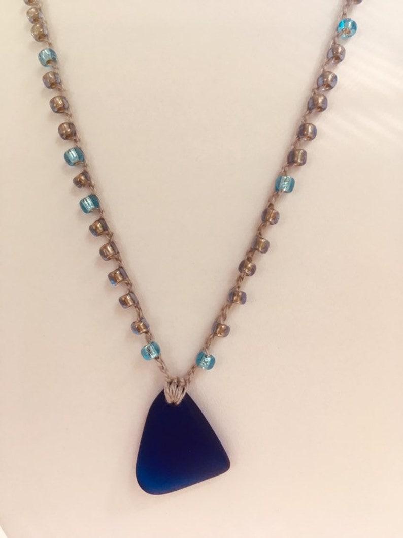Blue Sea glass Necklace image 0