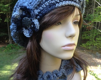Slouchy Beret with Grey Print Flower and Vintage Button