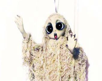 Ghost Halloween decorations - Ghost Ornament - Halloween Decor - Halloween Ornaments - Haunted Doll - Halloween Art - MADE TO ORDER