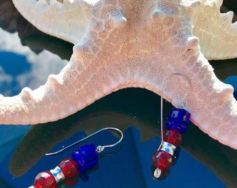 Patriotic Snowman Earrings