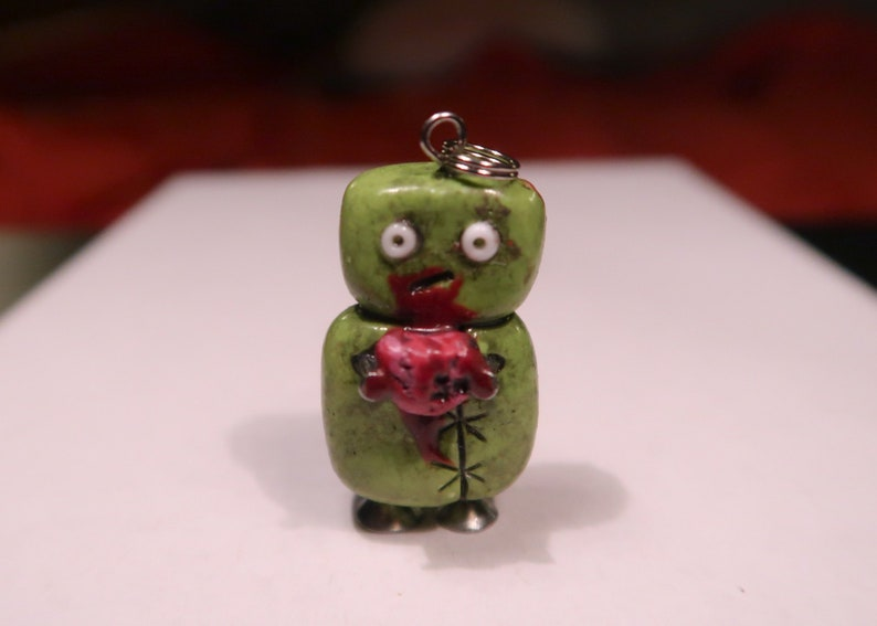 Zombie Brain Charm  Keychain  Necklace  Polymer Clay cute image 0