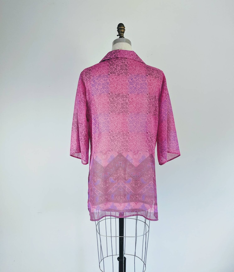 One Of A Kind tunic pink SHEER BLOUSE  beach  cover up with collar
