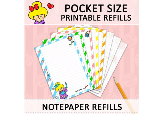 image regarding Pocket Pattern Printable called PRINTABLE Pocket Dimensions Lovely Kawaii Kokeshi Do it yourself Notepaper Refills for Filofax Organizer Planner Instantaneous Down load