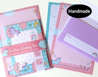 Unicorn cute letter writing paper stationery set handmade ideal for kids children