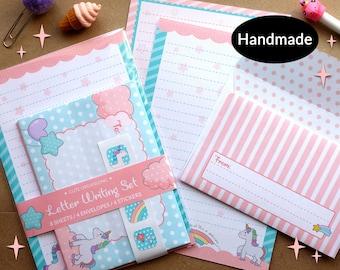 Unicorn letter writing paper stationery set handmade ideal for kids children
