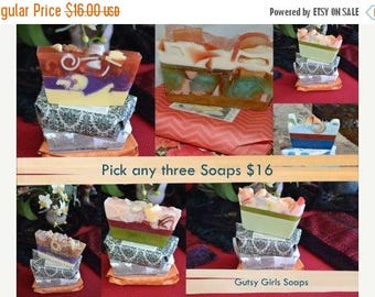 Soap 3 Pack~Large Bar~ Artisan Soap~ Handmade Soap~ Vegan Soap~ French Rose Garden Soap~ Rose Soap~~ Olive Oil Soap~