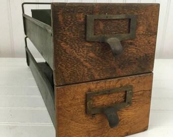 Vintage Metal and Wood Card File Drawers - Set of 2 Drawers