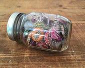 Mason Jar Filled with Vintage Bottle Caps - Cork Lined Bottle Caps