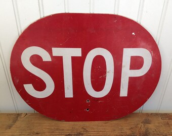 Vintage Crossing Guard Stop Sign Red Stop Sign - Orange Slow Sign