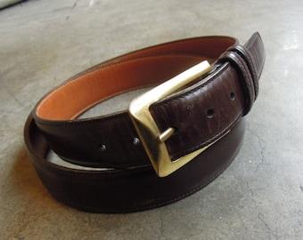 025c85952 Vtg TRAFALGAR Dark Brown Box Boarded Calf Skin Italian Leather Belt w/  Solid Brass Buckle Size 36 / 90 Refined Mens Dress Belt 90's 34 35 37