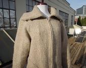 Vtg Icelandic Herringbone Woven Chevron Double Knit Wool Chunky Cardigan Jacket Coat Ski Sweater Womens L Brown Oatmeal Beige 70s 80s Tweed