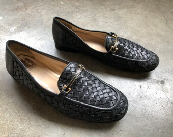 b287465818f Vtg 90 s Buttery soft black woven leather easy flat slip on loafers cole  haan womens shoes size 11 B all leather italian made in italy penny