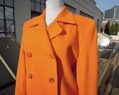 Vtg 90 39 s Soft Wool Angora Blend Double Breasted Short Jacket Peacoat Coat Light Tangerine Orange Mod Boxy Womens Size M 6 1990s