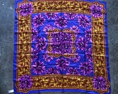 Vintage Silk Twill Purple Floral Print Large Square Scarf Big Shawl Handkerchief 1990s 90s Large Blue Gold Red 1980s 80s Laura Getaldi Wild