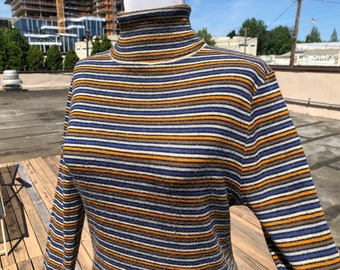 9b5afc176 Vtg 70s 80s Retro Wool Blend Thin Knit Sweater Striped Blues Orange Turtle  Neck Turtleneck Shirt Top Size M Womens Vintage 1970s 1980s Top