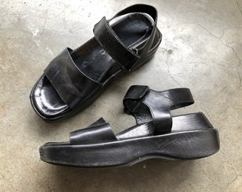2a98d4abc47 Vtg 90 s Via Spiga Black Leather Chunky Platform Wedge Sporty Avant Garde  Velcro Sandals Womens Shoes Size 6.5 M 1990s MAde in Italy Italian