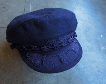 Vtg Navy Blue Felted Wool vintage greek fishermans cap Beret Hat Made in  greece Aegean San Francisco Athens 60s 70s size 60 - 7 1 2 nautical 7d78dd741ebe