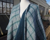 Vintage Wool Soft Blue Blanket Woven Poncho Vest Sweater Wrap Cape Reversible Plaid Pin Stripe Fringe Scarf Shawl S M L 90s Talbots