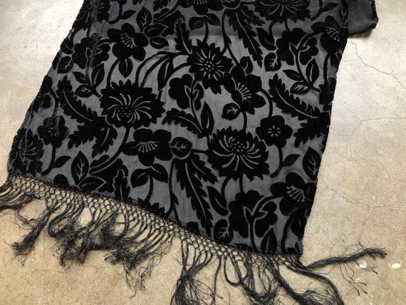 90s Black Floral Velvet Burnout Wide Scarf Shawl … - image 9