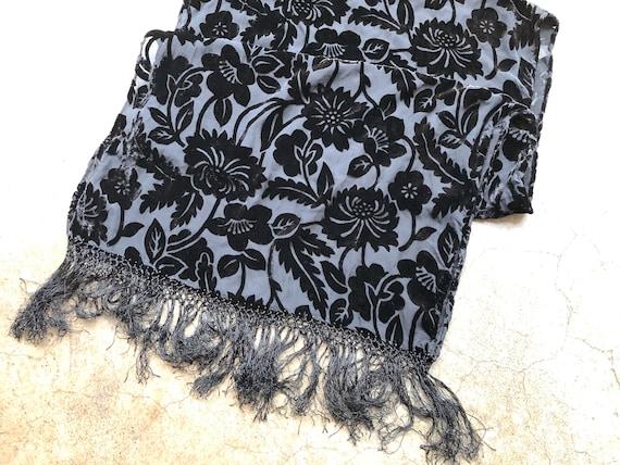 90s Black Floral Velvet Burnout Wide Scarf Shawl … - image 8
