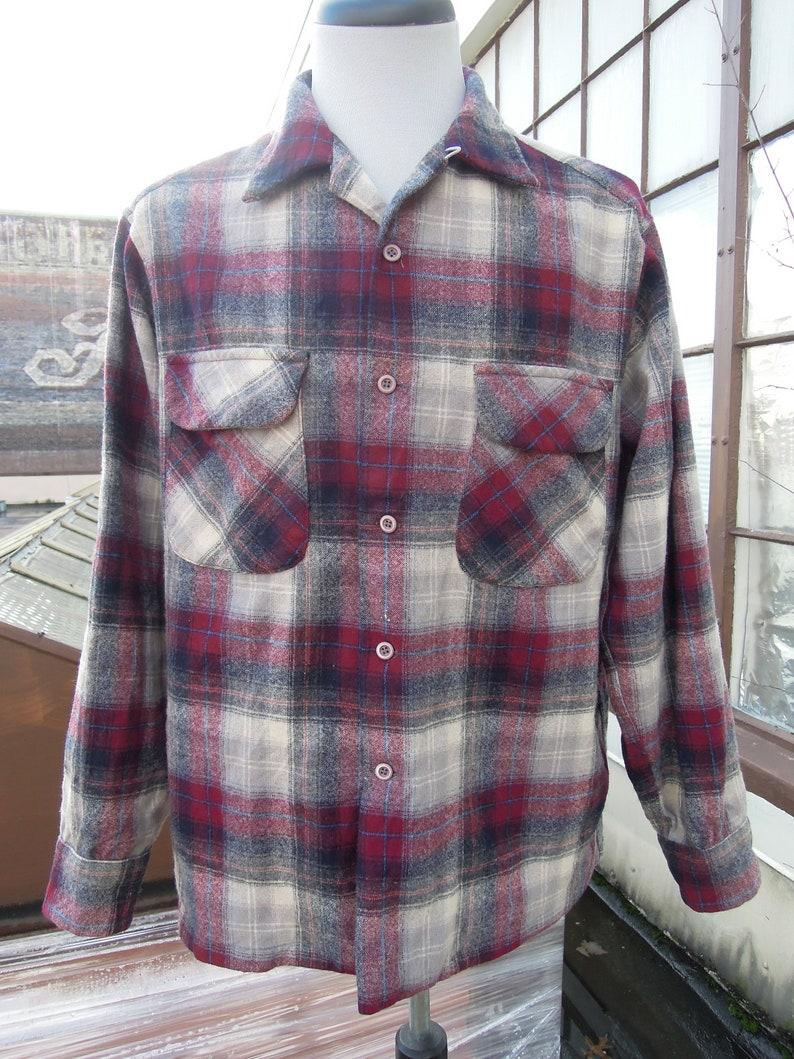 Vtg Pendleton Wool Plaid Woven mens oxford Shirt M burgundy ivory gray shadow plaid w chest pockets 80s 90s vintage flannel