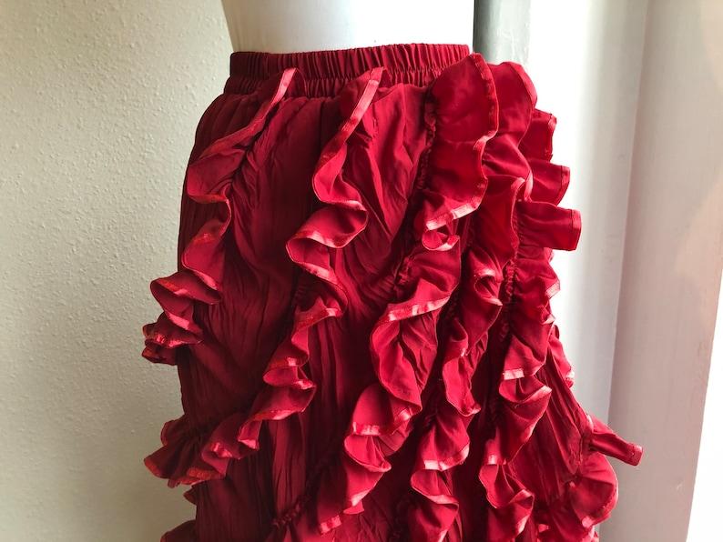 90s Dark Red Ruffled Layered Frilly Burlesque Skirt Flamenco Salsa Dance Womens Vintage 1990s Goth Steampunk Size S XS Ruffle Tango Bohemian