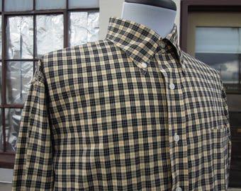 Men's Cotton Yellow and Black Plaid Lands End Oxford Shirt  M L 90's 16 1/2 - 33
