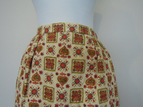 Vtg 1970s Quilted Long Maxi A-Line Skirt Cotton In
