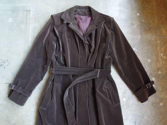 Vtg Women's Dark Chocolate Velvet London Fog Belted Trench Coat Size 2 Small Medium 80's Drizzle Inc. by Etsy