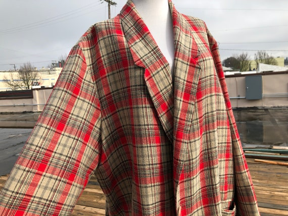 80s Ship 'n Shore Vintage Plaid Tweed Woven Red Be