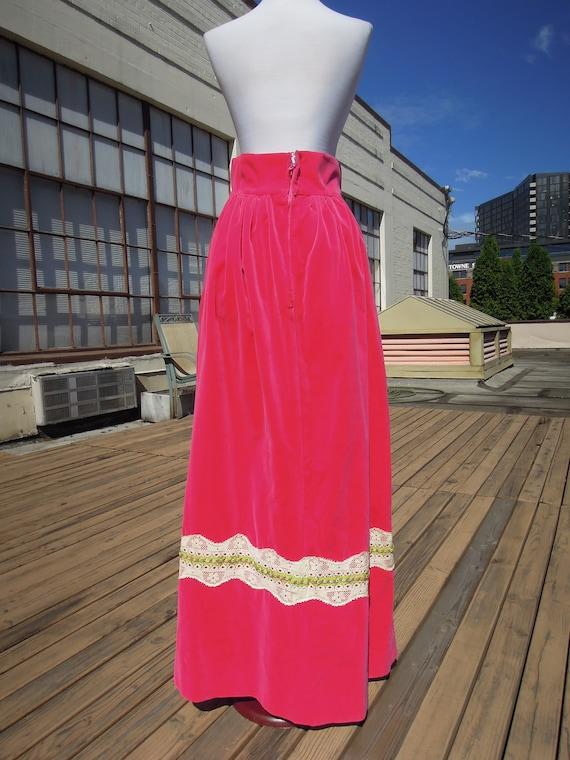 Vintage Velvet Hot Pink Vivid 70s Boho Long Cotto… - image 9