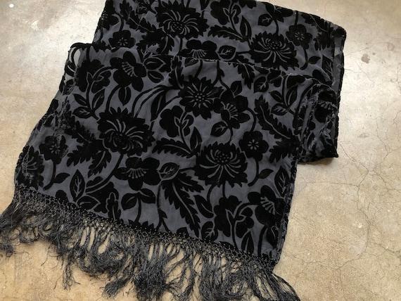 90s Black Floral Velvet Burnout Wide Scarf Shawl … - image 3