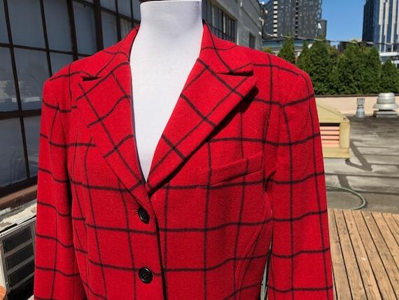 1990s Soft Red Windowpane Plaid Tweed Wool Flannel