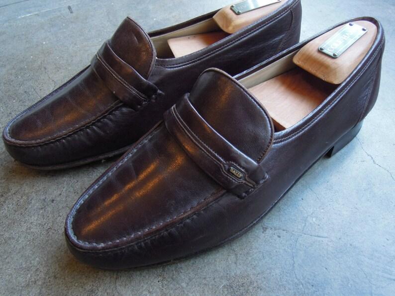 Vtg Bally Of Switzerland Chocolate Slip On Loafers Mens 75 M Womens 859