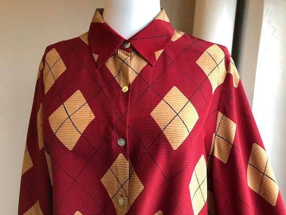 90s Pure Silk Dark Red Maroon Gold Yellow Argyle P
