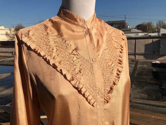 70s Copper Peach Satin Poly Womens Western Ruffled