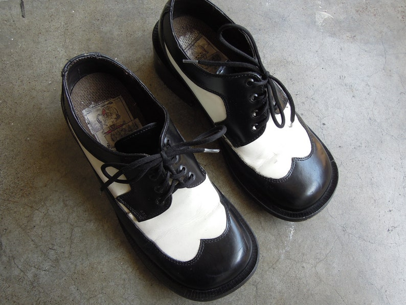 Vtg Jokers Wild Chunky Leather 2 Tone Lace Up Oxfords Black and White Wingtip Brogue womens size 6 6.5 M W 80/'s 90/'s Dr Martens insp Vintage