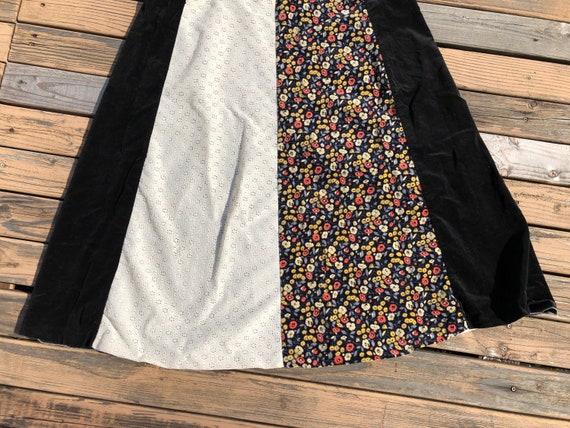 70s Vintage Velvet Boho Long Flared Cotton Maxi E… - image 8