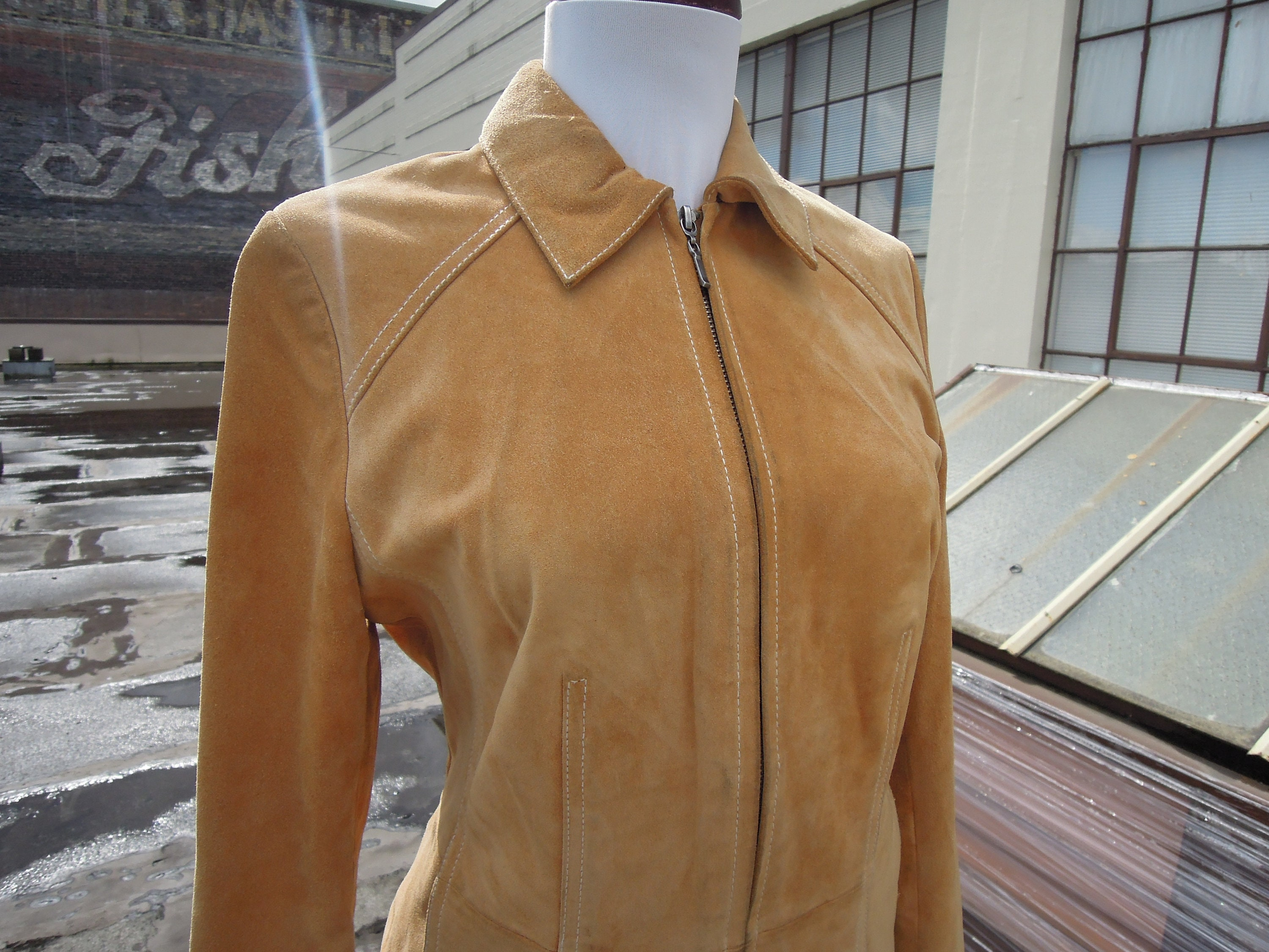 a6a7ebd1 Vintage Soft Suede Leather Golden Tan Zip Up Shirt Jacket Coat Womens Small  XS 90's 70's Inspired Moto 1990s Caramel Camel zipper front