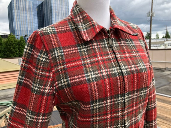 90s Womens Plaid Flannel Red Green Wool Tweed Wove