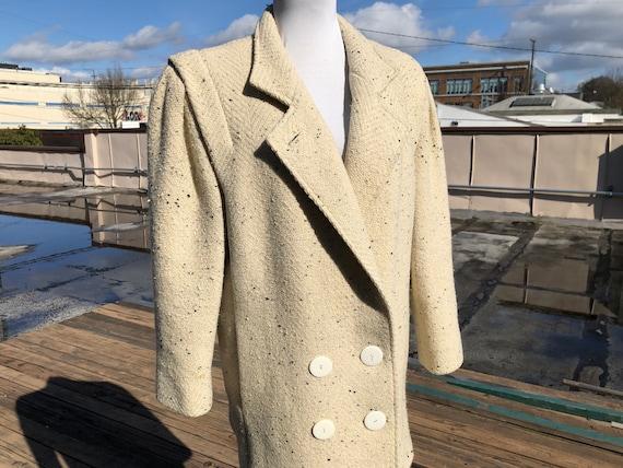 80s Cream Ivory Black Speckle Wool Tweed Woven Bro