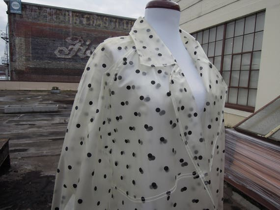 Vintage Clear Polka Dotted Raincoat Belted Buckle